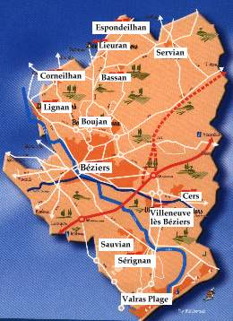 carte des quartiers de beziers réussir Béziers Méditerranée en Europe, communauté d'agglomération